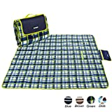 apollo walker Extra Large Waterproof Camping Blanket Mat Fleece Picnic Blanket Tote,Suitable for Outdoor Travel, Barbecue, Camping Life.(80x60-Inch)(Green)