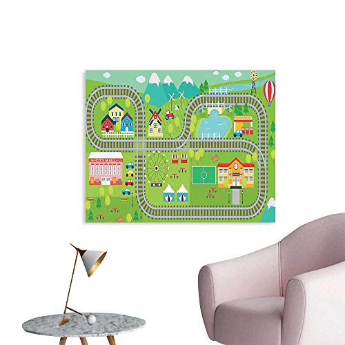 J Chief Sky Kids Activity Wall Picture Decoration Train Tracks with Colorful Town School City Mall and Amusement Park Fair Wall Stickers for Kids Room W48 xL32