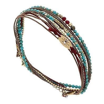 Zag Bijoux Bracelet multitours étoile et Perles (Turquoise/Marron)
