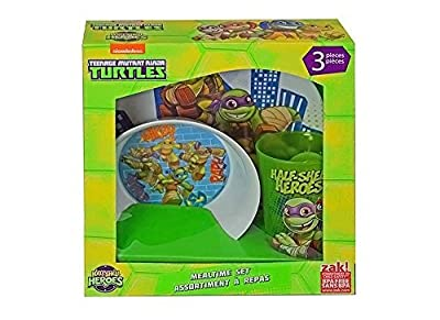 Teenage Mutant Ninja Turtles Half-Shell Heroes 3-pc Mealtime Set, TMNT Plate, Bowl & Cup