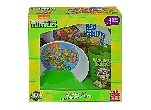 Teenage Mutant Ninja Turtles Half-Shell Heroes 3-pc Mealtime Set, TMNT Plate, Bowl & Cup