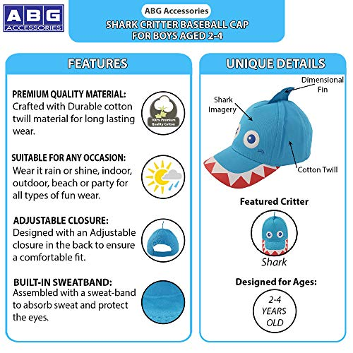 2afbf468 ABG Accessories Toddler Boys Cotton Baseball Cap with Assorted Animal  Critter Designs, Age 2-
