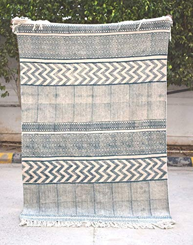Aztec Printed Cotton Rug, Demin Look, Handmade, Block Print, 100% Cotton, Rugs, Home Decor, Wholesale Available, Size- 48x72 Inches