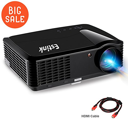 Portable Video Projector Full HD Home Theater Cinema Projectors Native 720P Support 1080P 2500 Lumens 200'' Screen for iPhone/ Laptop/ PS4/ TV With HDMI/VGA 2Speaker Built-In (Video Projector) by Estink