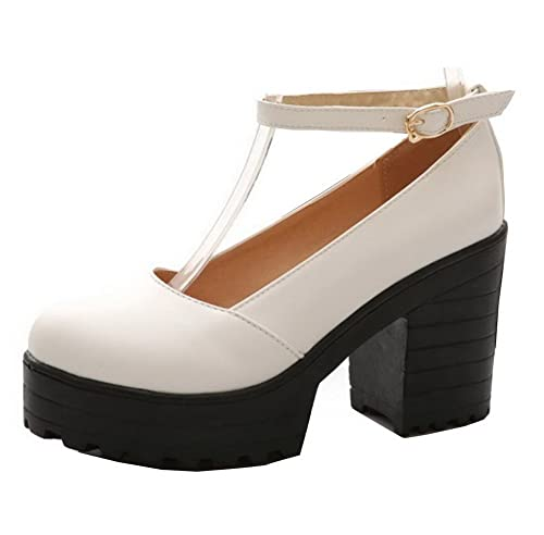Fibbia Donna Con Tacco Shoes Festa Ageemi Décolleté E Plateau 3R54LjA