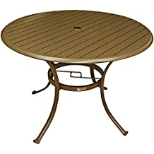 Panama Jack Outdoor Island Breeze Slatted Aluminum Round Dining Table in Espresso Finish with Umbrella Hole, 42-Inch