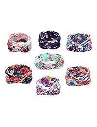 Kobwa(TM) 7pcs Baby Girls Floral Print Headbands Newborn Girls Hairband Headwrap