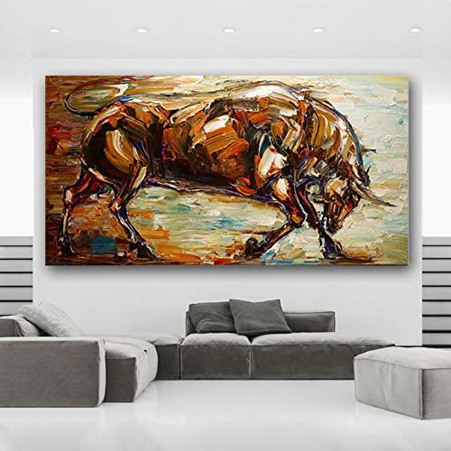 Orlco Art Hand-Painted Abstract Bull Oil Painting Abstract Art Animal Oil on Canvas Palette Knife Heavy Textured Yellow 28x56inch with The Stretched