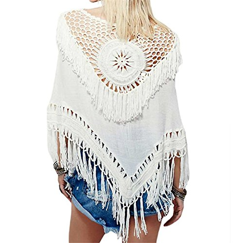 Minlovely Women's Boho Handmade Crochet Tassel Bikini Cover Up Beachwear Summer Poncho (White)