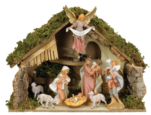 Fontanini by Roman Nativity Set with Italian Stable, 8-Piece, 7-1/2-Inch