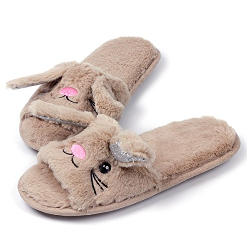 Womens Open Toe Slippers | Cute Bunny Unicorn Animal Slipper | Soft Fleece Memory Foam Clog | Anti-Slip Sole Indoor Outdoor Shoes | Flip Flop Spa Slippers (9-10, BrownBunny) by Caramella Bubble (Image #1)