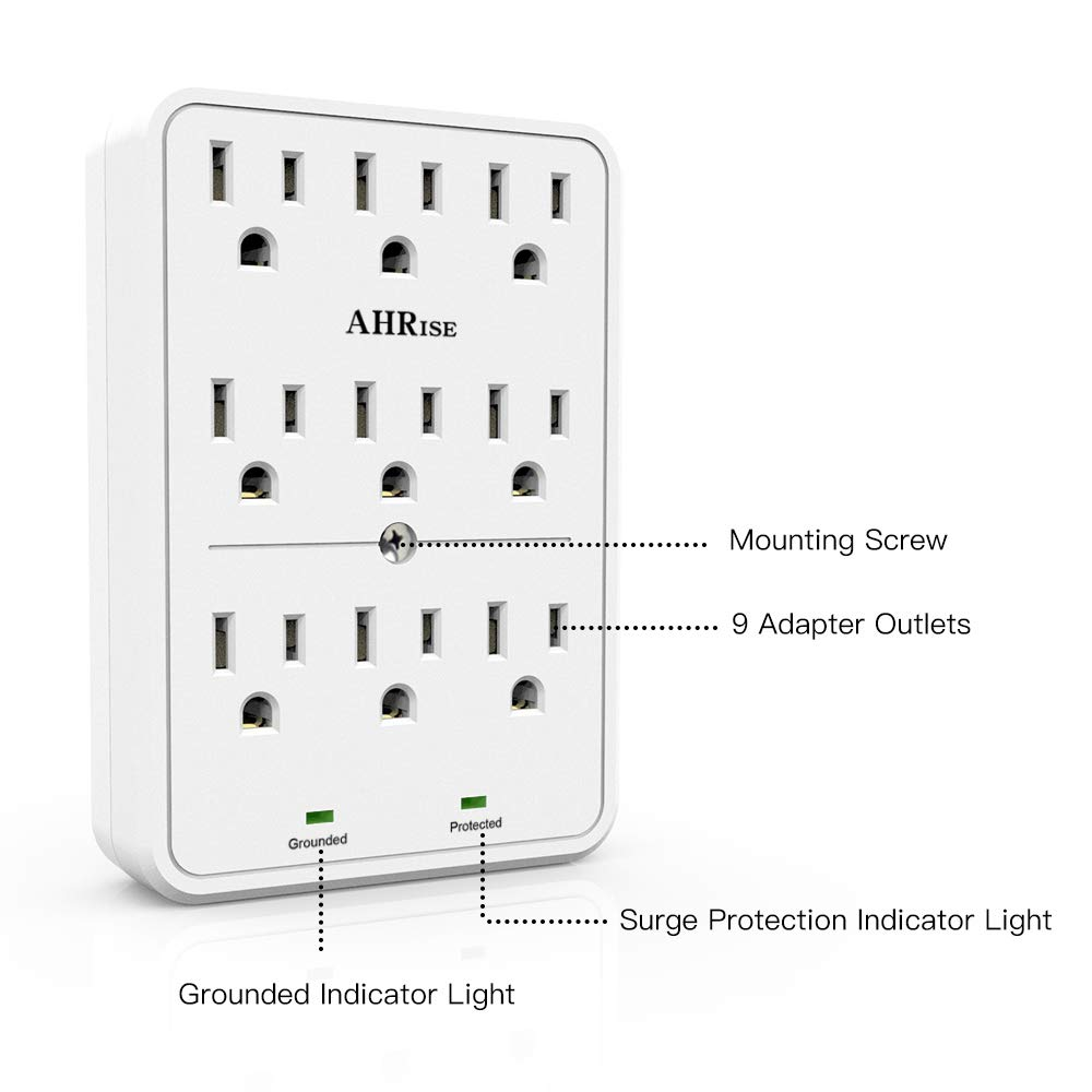 AHRISE 9-Outlet Extender Wall Plug White Easy Install Power Adapter Splitter with 2100 Joules Surge Protector 3 Prong Outlets