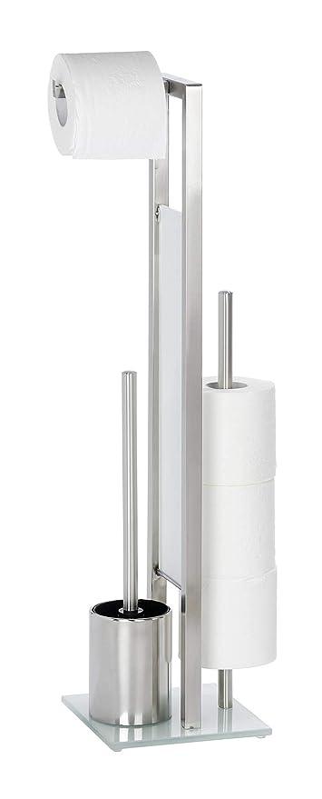 Wenko Rivalta Portarrollos con Escobillero, Acero Inoxidable, Plata Mate, 20x18x275 cm