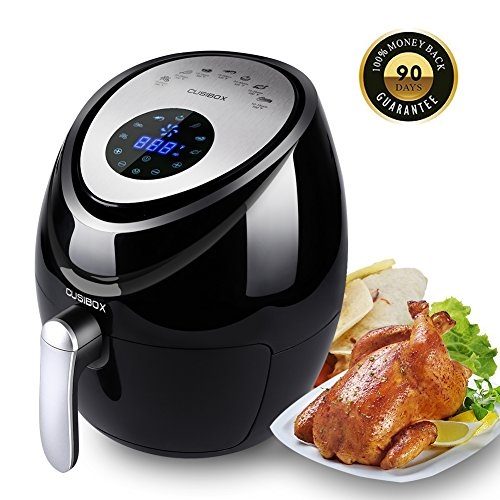 Air Fryer Electric 3.8QT XL Oil Free Low Fat + Cookbook, Digital LED Touch Air Fryer 7 Cooking Presets Menu - Dishwasher Safe Fry Drawer with 5-Piece Accessories 1500W