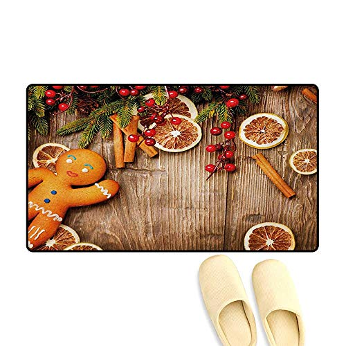 Bath Mat,Rustic Composition with Holly Berry Orange Slice Cinnamon and Biscuit,Door Mats for Inside Non Slip Backing,Brown Orange Red,16