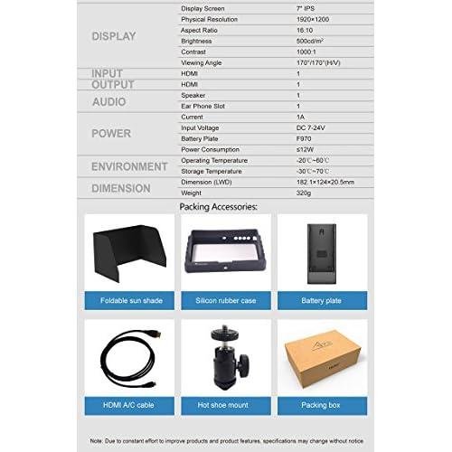 delicate Lilliput A7S 7-inch 1920x1200 IPS Screen Camera