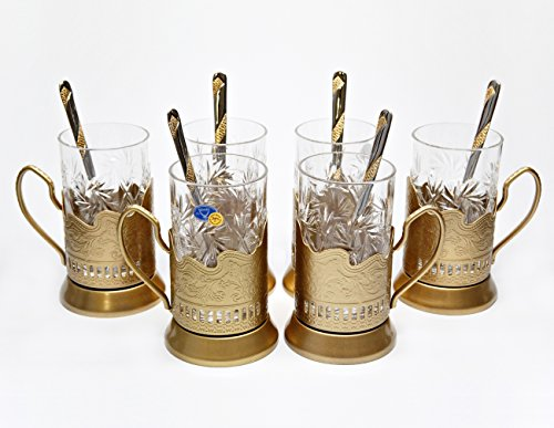 Cut Old Fashioned (GOLD Combination of 6 Russian Old-Fashioned CUT Crystal Hot Tea Glass 8.5 Oz & H)