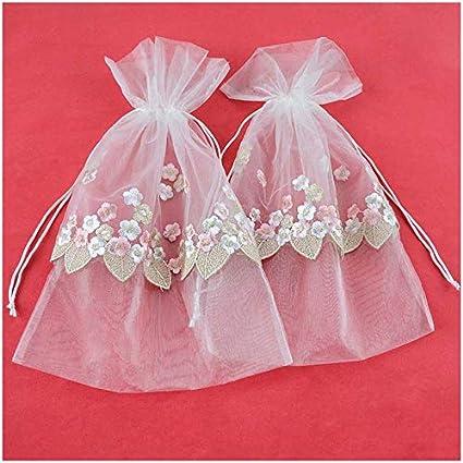 34cb304302c9 VU100 Drawstrings Organza Bags/Pouches Lace Flower Decor, Premium Wedding  Party Favor Gift Bags, for Candy Clothes Sachet Storage (2 Packs,10x14 ...