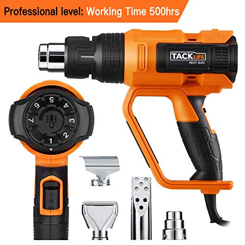 - Professional Heat Gun 1600W 122℉~1112℉(50℃~600℃) - Adjustable 7 Heat Levels with 3 Temp-settings, 4 Nozzle Attachments, Unique Cooling Mode, Soft Rubbrized Handle(Working Time Over 500 Hrs) - HGP73AC