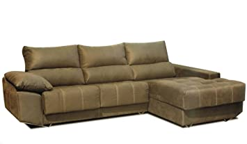 MUEBLES MATO - Sofa cheslong gue dcho marron: Amazon ...