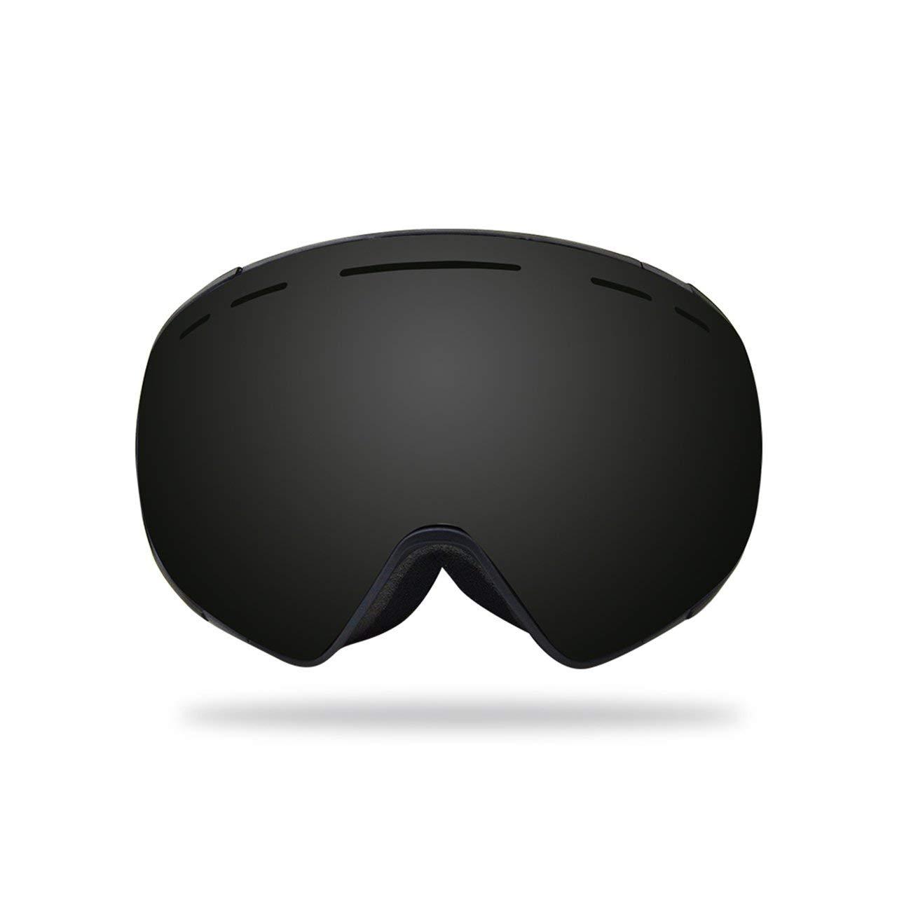 DEjasnyfall Mode Sphärische Oberfläche Skibrille UV400 Anti-Fog-Maske Brille Professionelle Männer Frauen Brille Klassisches Design (schwarz)