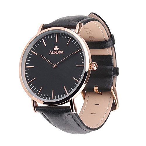 Aurora Women's Metal Retro Casual Round Dial Quartz Analog Wrist Watch with Black Leather Band (Women's Black Dial (Gold))