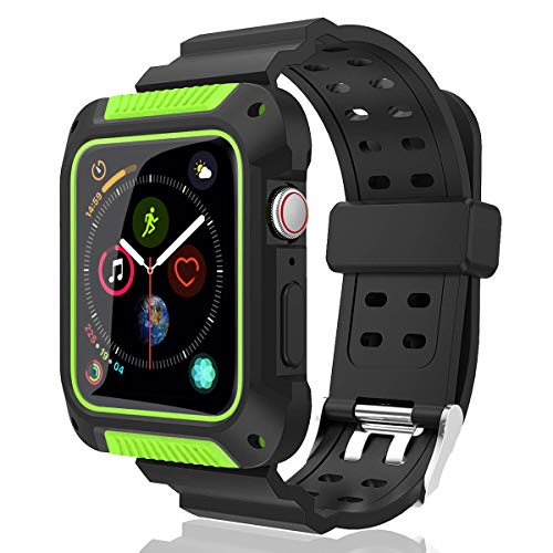 PROSA Compatible Apple Watch Band 44mm with Case, Upgraded Soft Silicone Sport Band Replacement iWatch Band Strap for Apple Watch Series 4/3/2/1 for Women and Men (Green)