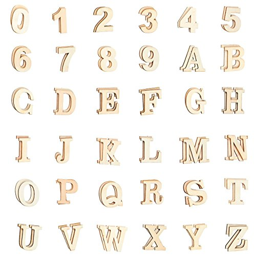 Wooden Letters - 144-Count Self-Adhesive Wood Alphabet Letters and Numbers Stickers for DIY Craft, Home Decor, Natural Color - Scrapbook Bulletin Board