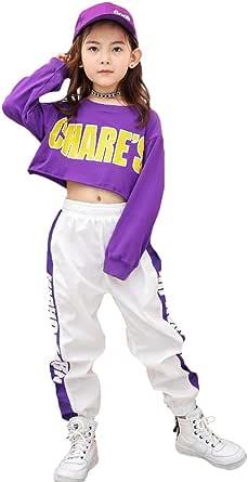 LOLANTA Ropa de Hip Hop para niñas Trajes de Baile Callejero para niños Sudadera Recortada, pantalón de Rayas Laterales, Conjunto de chándal