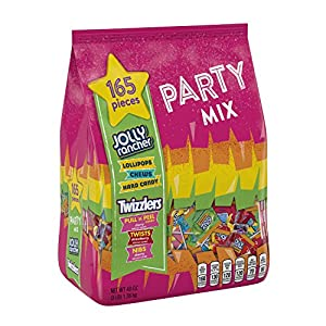 HERSHEY'S Party Mix Snack Size Candy Assortment (TWIZZLERS/JOLLY RANCHER Candy), 48 Ounce Bag (165 Pieces)