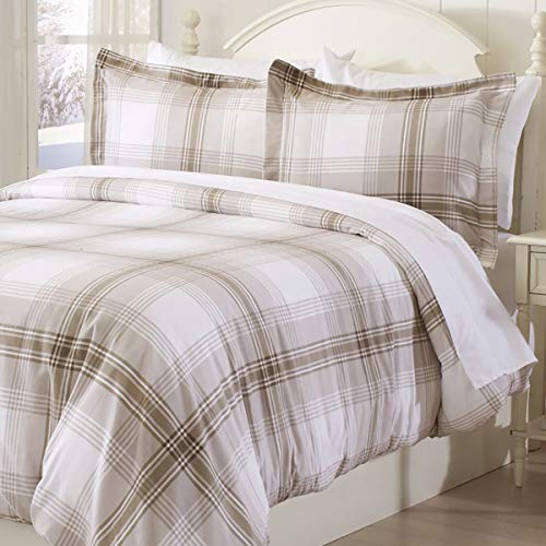 Price comparison product image Great Bay Home Extra Soft Printed Flannel Duvet Cover with Button Closure. 100% Turkish Cotton 3-Piece Set with Pillow Shams. Belle Collection (Twin, Plaid - Taupe)