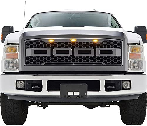 NEW Raptor Style Front Bumper Grille F /& R Letters Replacement for 08-10 Ford F250 F350 F450 Gray