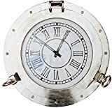 Large Aluminum Nickel Plated Wall Clock | Porthole Pirate's Gifts | Nagina International (20 Inches)