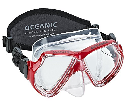 Oceanic Mako Silicone Scuba Snorkeling Mask with Comfort Neoprene Mask Strap, Red