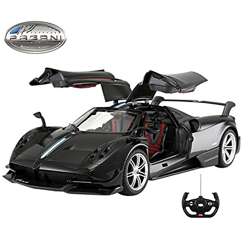 (Licensed RC Car 1:14 Scale Pagani Huayra BC | Rastar Radio Remote Control 1/14 RTR Super Sport Car Model w/Open Doors (Black))