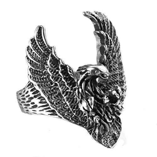 cfcbcb89262d Beydodo Joyas Anillo de Hombre Acero Inoxidable Anillo Águila Anillo Para  Hombre Anillo Talla Anillo Plata