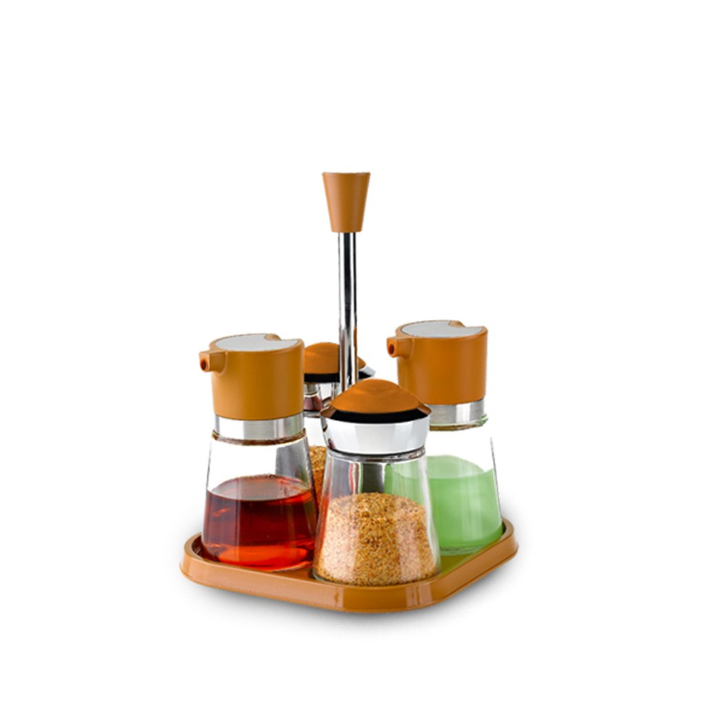 ZFDM Kitchen Glass Oil Pot Seasoning Bottle Bottle Seasoning 4 Piece Set (Color : Brown)