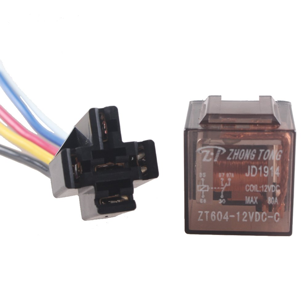 E Support/™ 5 X 12V 60A 5-Polig SPDT KFZ Relais Schlie/ßer Auto LKW Wechselrelais Leistungsrelais Buchse Stecker