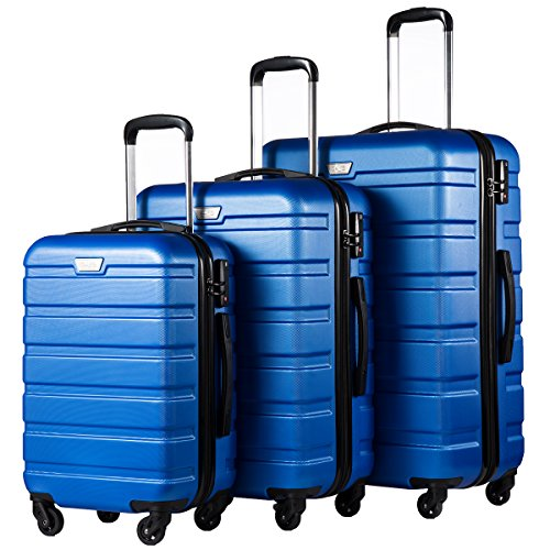 COOLIFE Luggage 3 Piece Set Suitcase Spinner Hardshell Lightweight TSA Lock (Blue) ()