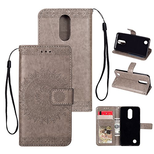 - Leather Wallet Case for LG K8 2018,Yobby LG Aristo 2 Gray Case Embossed Mandala 3D Pattern Slim Premium PU Flip Cover [Magnetic Closure] with Card Slots/Wrist Strap/Stand