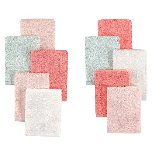 Little Treasure 10 Piece Rayon from Bamboo Washcloths, Pink & Teal