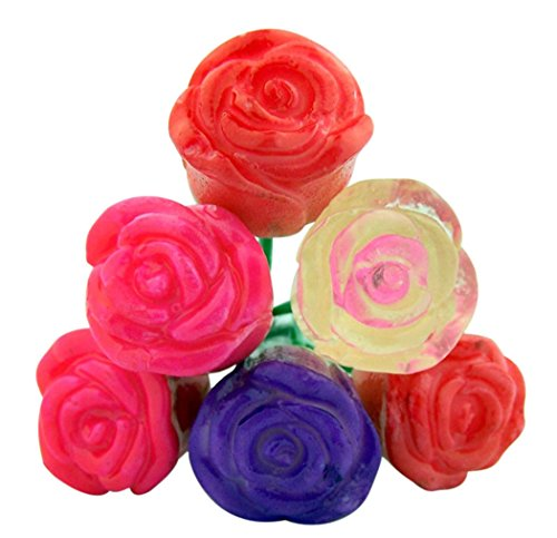Fruit Flavored Bouquet of Candy Lollipop Roses, 6 Count