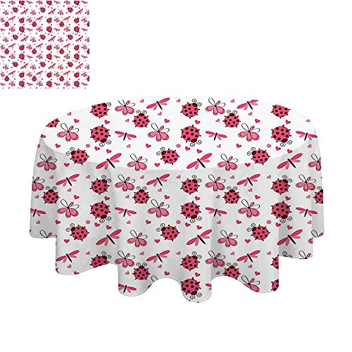 SATVSHOP Round Tablecloth-70Inch-Stain Resistant, Washable, Liquid Spills Bead up.Domed Back ound Ladybugs with Hearts Flowers Dragonfli omantic Wings Pattern White. ()