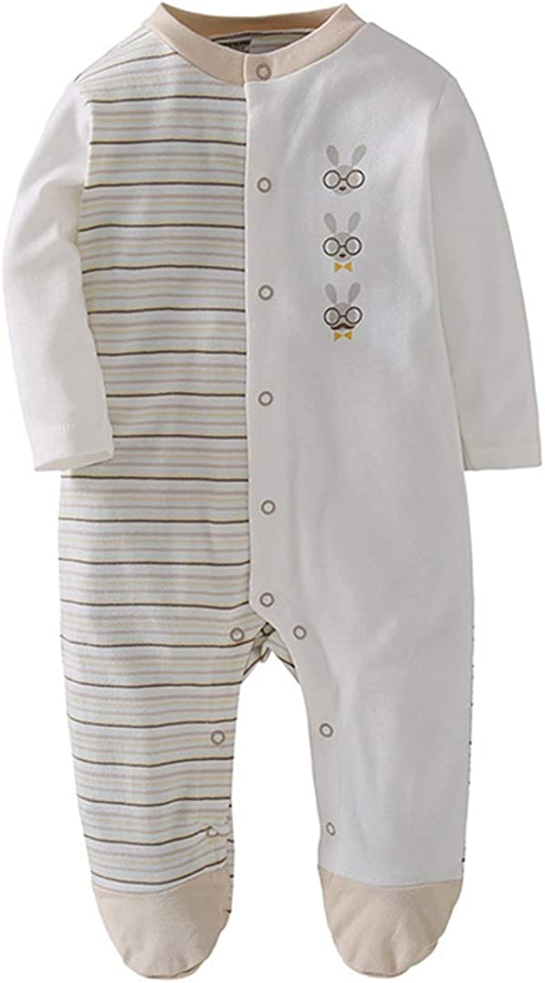 KUKEONON Long Sleeve Footies Round Neck Romper Cotton Jammies for Baby Boys and Girls
