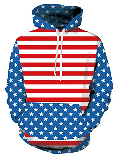 (Unisex America Flag Fleece Hoodie 3D Print Stars and Striped Cool Pullover Hooded Sweatshirt)
