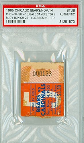- 1965 Chicago Bears Ticket Stub vs St. Louis Cardinals Gale Sayers Career Touchdown #5 Rudy Bukich 291 Yds, TD - Bears 34-13 November 14, 1965 PSA/DNA Authentic Nov 14 1965 [Grades Poor, paper loss; tape on reverse]