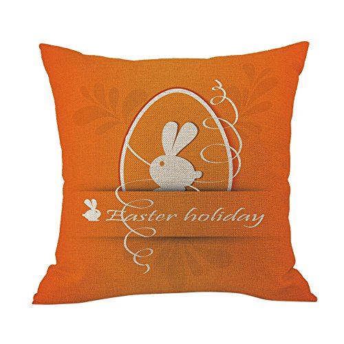 Amacok Happy Easter Rabbit with Eggs Home Decor Throw Pillow Case Cushion Cover Pillowcase Sofa Square Decorative 18 x 18 inch -