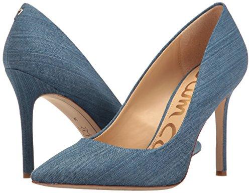 Con Edelman Cerrada Sam Mujer Blue Zapatos Hazel Punta De Denim Azul Tacón Para mid qFqH4w1