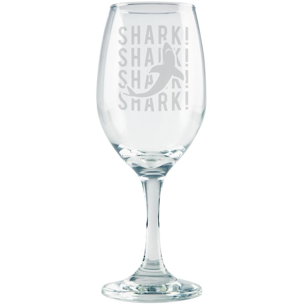 Shark Stack Repeat Etched White Wine Glass Clear Glass Standard One Size