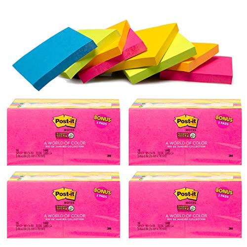 3 Bright Post it Notes Pads School Office Supplies Sticky Notes Bulk Assorted Colors ()